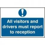 """ASEC """"All Visitors Must Report To Reception"""" 200mm x 300mm PVC Self Adhesive Sign"""