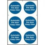 """ASEC """"Automatic Fire Door Keep Clear"""" 200mm x 300mm PVC Self Adhesive Sign"""