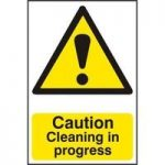 """ASEC """"Caution Cleaning in Progress"""" 200mm x 300mm PVC Self Adhesive Sign"""