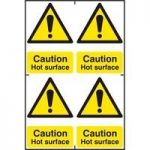 """ASEC """"Caution Hot Surface"""" 200mm x 300mm PVC Self Adhesive Sign"""