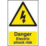 """ASEC """"Danger Electric Shock Risk"""" 200mm x 300mm PVC Self Adhesive Sign"""