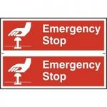 """ASEC """"Emergency Stop"""" 200mm x 300mm PVC Self Adhesive Sign"""