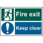 """ASEC """"Fire Exit Keep Clear"""" 200mm x 300mm PVC Self Adhesive Sign"""