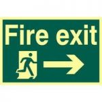 """ASEC """"Fire Exit"""" 200mm x 300mm PVC Self Adhesive Photo luminescent Sign"""