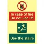 """ASEC """"In Case Of Fire Do Not Use Lift"""" 200mm x 300mm PVC Self Adhesive Photo luminescent Sign"""