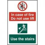 """ASEC """"In Case Of Fire Do Not Use Lift"""" 200mm x 300mm PVC Self Adhesive Sign"""