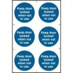 """ASEC """"Keep Door Locked When Not In Use"""" 200mm x 300mm PVC Self Adhesive Sign"""