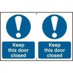 """ASEC """"Keep This Door Closed"""" 200mm x 300mm PVC Self Adhesive Sign"""