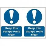 """ASEC """"Keep This Escape Route Clear"""" 200mm x 300mm PVC Self Adhesive Sign"""