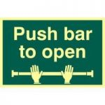 "ASEC ""Push Bar To Open"" 200mm x 300mm PVC Self Adhesive Photo luminescent Sign"