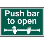 "ASEC ""Push Bar To Open"" 200mm x 300mm PVC Self Adhesive Sign"