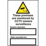 "ASEC ""These Premises Are Monitored By CCTV Surveillance"" 200mm x 300mm PVC Self Adhesive Sign"