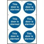 """ASEC """"This Door Is Alarmed"""" 200mm x 300mm PVC Self Adhesive Sign"""