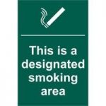 """ASEC """"This Is A Designated Smoking Area"""" 200mm x 300mm PVC Self Adhesive Sign"""