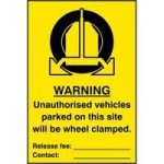 """ASEC """"Unauthorised Vehicles Parked On This Site Will Be Wheel Clamped"""" 200mm x 300mm PVC Self Adhesive Sign"""