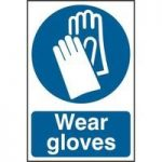 "ASEC ""Wear Gloves"" 200mm x 300mm PVC Self Adhesive Sign"